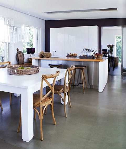 white painted dining table and wood chairs for dining room