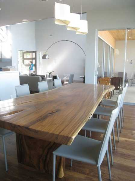 solid wood table in dining room