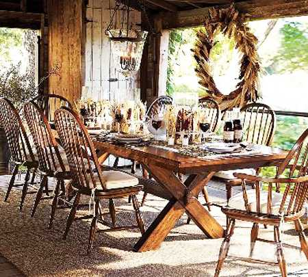 wood dining furniture and wooden walls