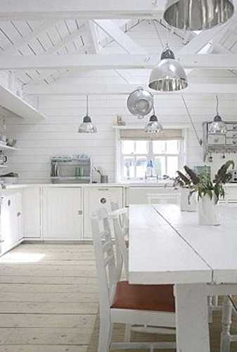 white kitchen cabinets and solid wood dining table