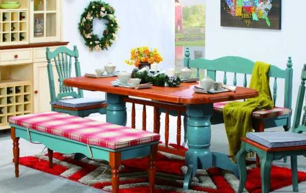 20 gorgeous dining furniture sets highlighting country for Painted dining room table and chairs ideas