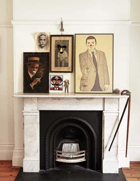 vintage decor for fireplace mantel