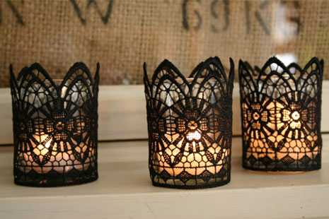 decorated with lace candles for Halloween party