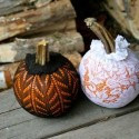 handmade halloween party decorations, mini pumpkins in lace bags