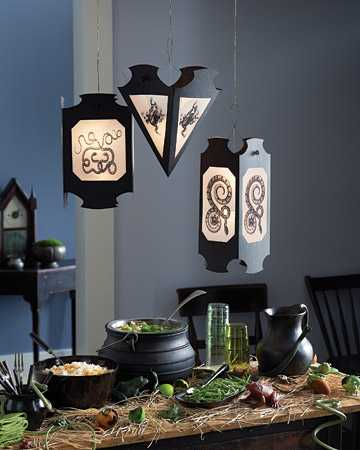 black lights and tableware for Halloween party