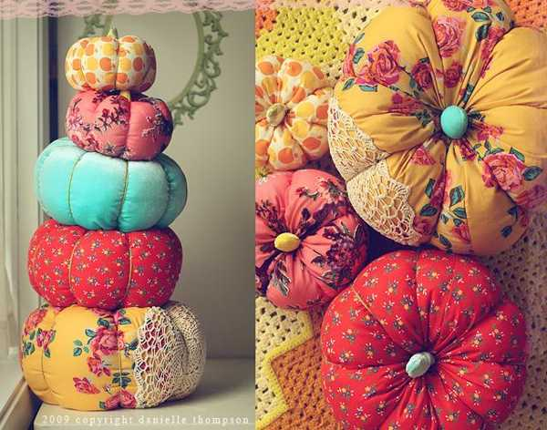 colorful pumpkin pillows made of bright fabrics
