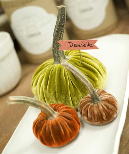 green and orange pumpkins made of velvet fabric