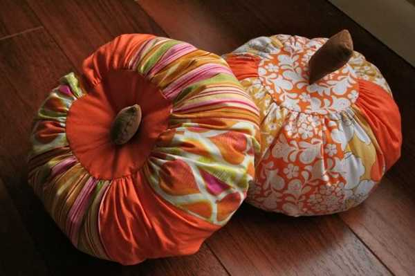 colorful fabrics used for making pumpkins pillows