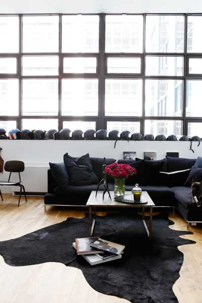 black living room design in gothic style
