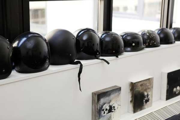 black helmet collection and skulp painting