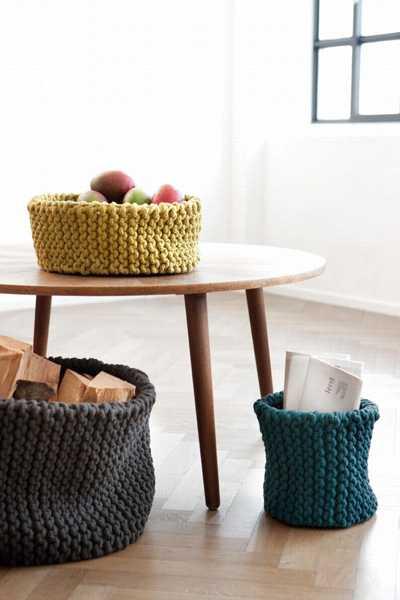 knitted storage baskets