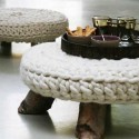 ottoman with knitted cushion
