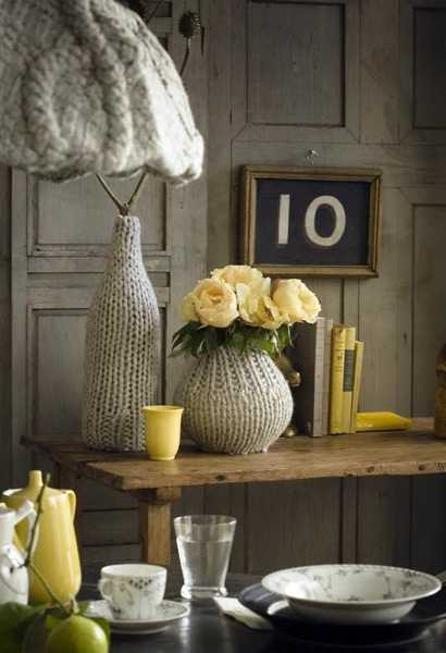 knitted vases and lamp shades