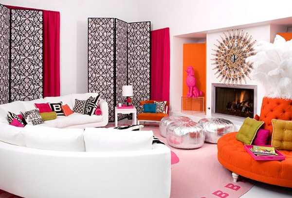 red and orange colors for living room decorating