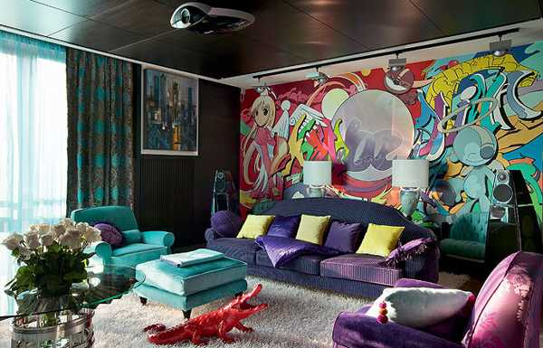 10 steps to modern interior decor in pop art style for Living room designs pop