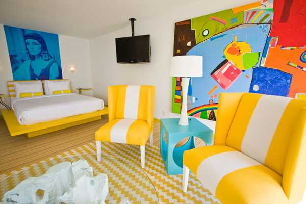 Interior Decor In Pop Art Style Blue And Yellow Room Decorating Color Combination