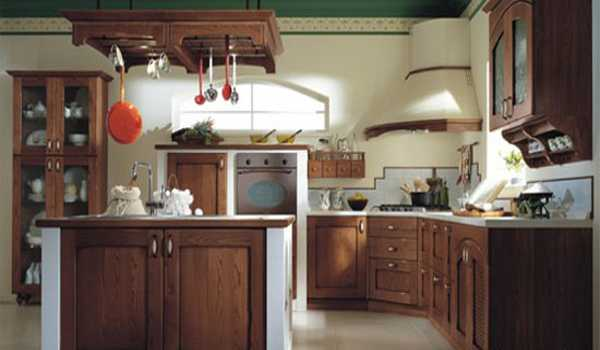 wood kitchen cabinets in brown color