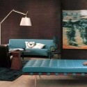brown wall paint and turquoise furniture upholstery fabric