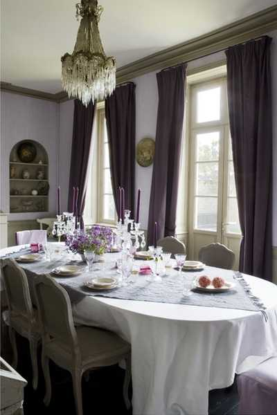 french decor for dining room in white and purple colors