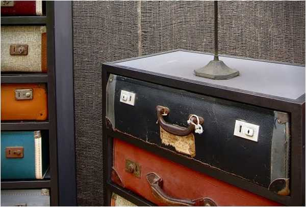 old suitcases turned into chest drawers
