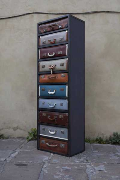 tall chest with drawers made of old suitcases