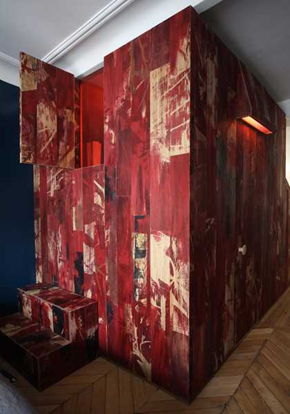 plywood panels painted red color