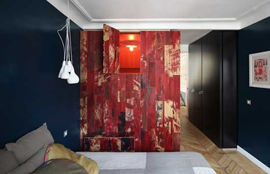bedroom design with red wall panels