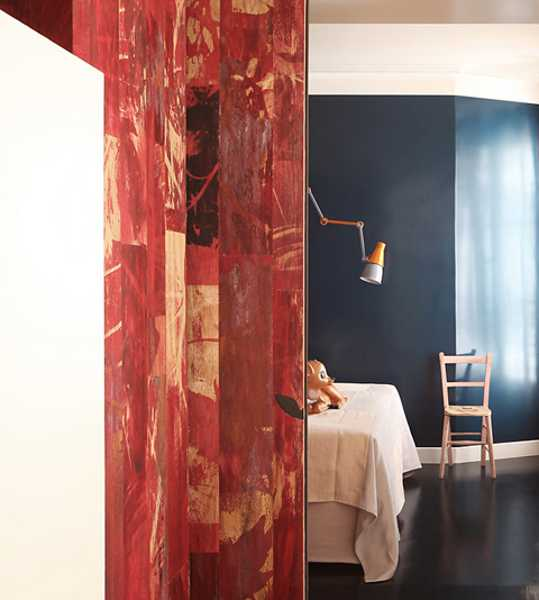 red wooden wall panels