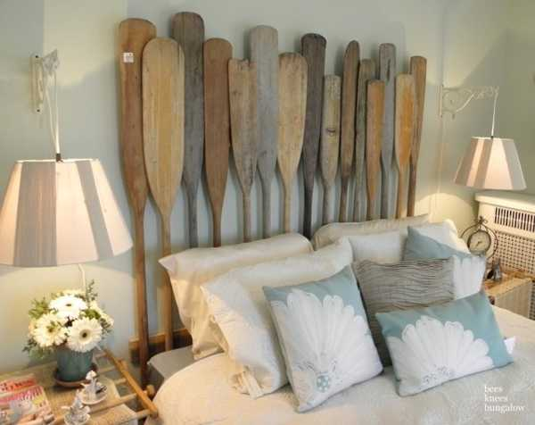 bed headboard made with oars