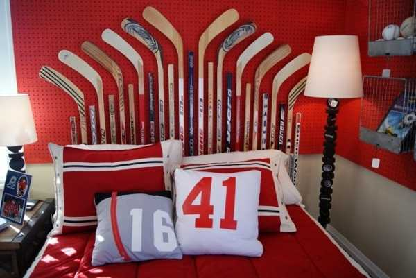 bed headboard design made with hockey sticks