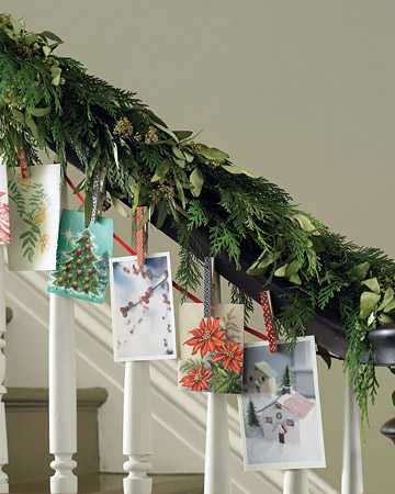 winter holiday decoration with christmas cards