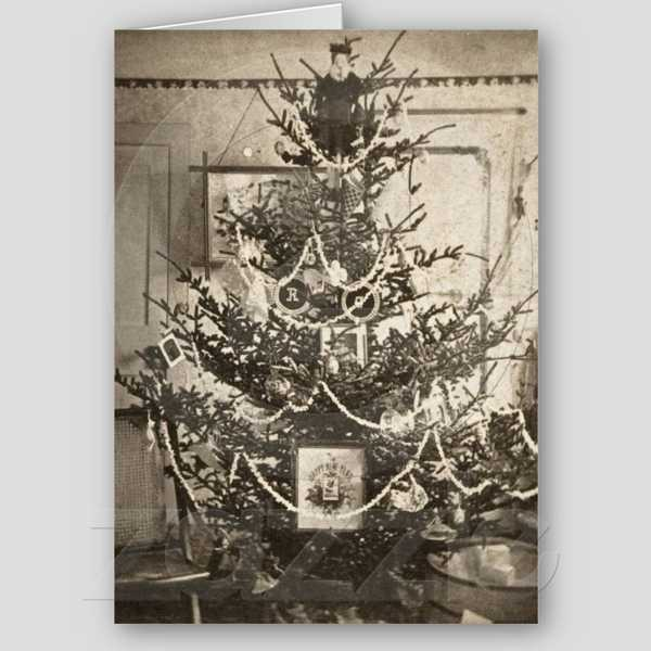 old christmas tree decorations and cards in vintage style