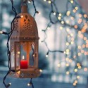 lantern with candles and christmas lights