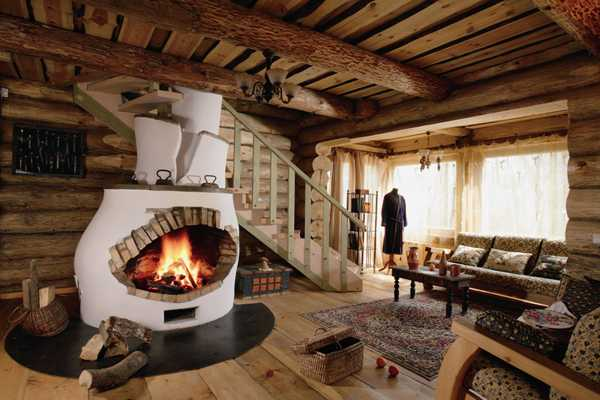 fireplace and ceiling beams