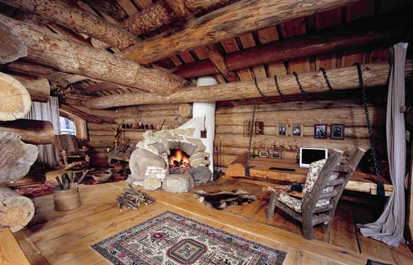 Stone Fireplace And Wood Ceiling Design In Alpine Chalet, Beautiful Country  Home Decorating Ideas