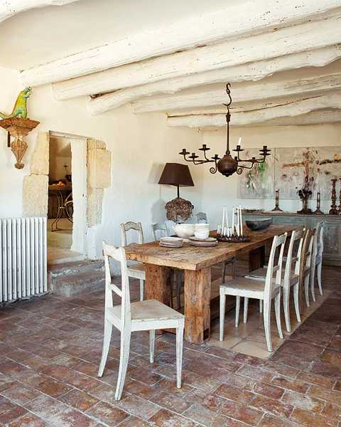 wood furniture , large table and chairs for dining room decorating in country home style