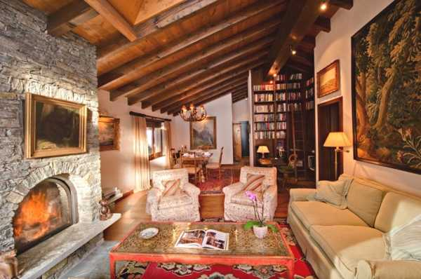country style home interior with wood ceiling beams