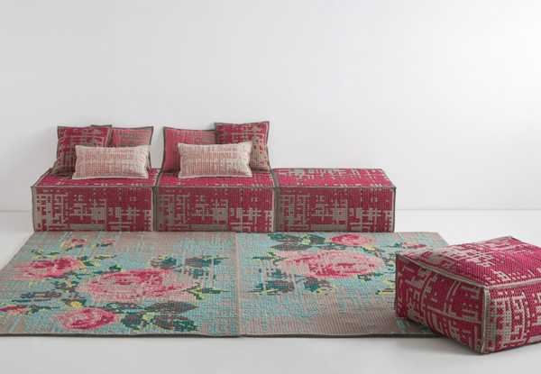designer furniture, sofa, pouf and floor rugs with embroidery