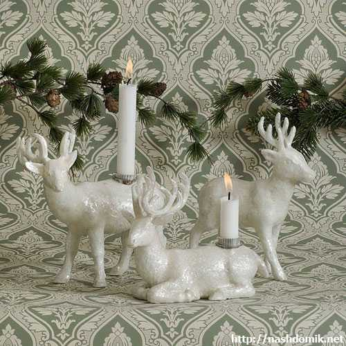 porcelain deer figurines in white color