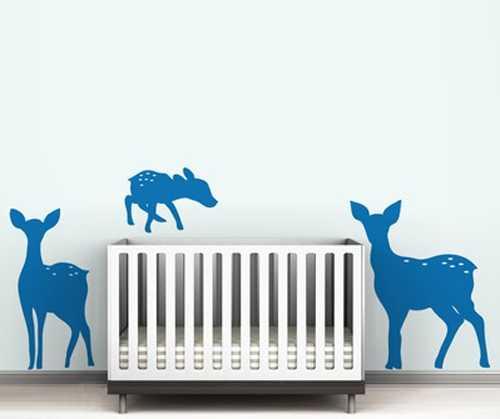 deer wall stickers in blue color