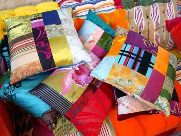 colorful decorative pillows made of scarves
