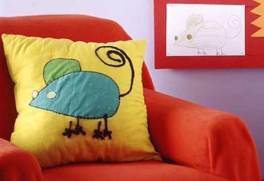 decorative pillow with fabric applique for unique interior decorating