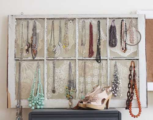 recycling window frame for bedroom organizer