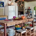 wooden kitchen island with stools