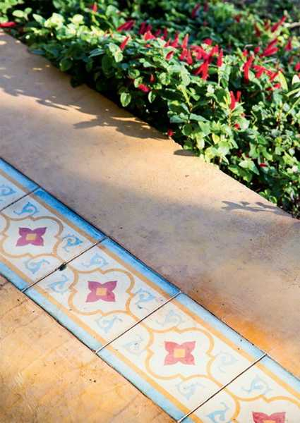 hand painted floor tiles for patio decorating