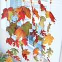 window decoration with fall leaves