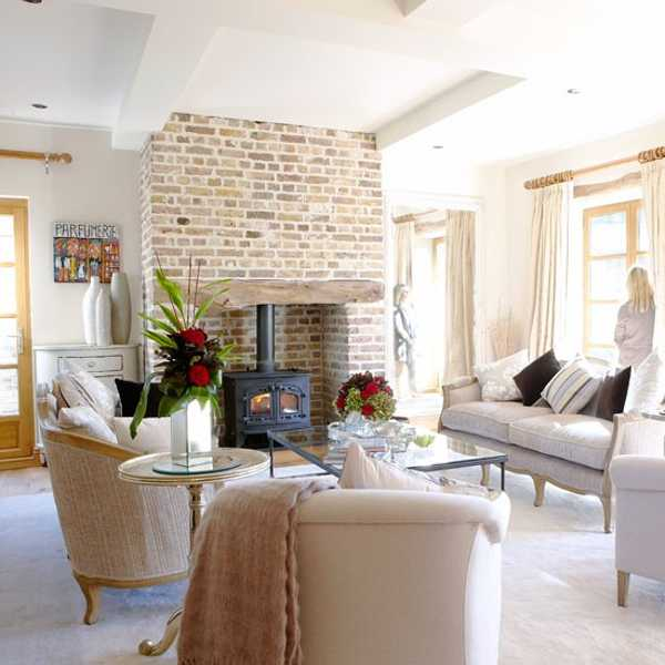 Lovely Brick Fireplace Wall And Living Room Furniture In French Style