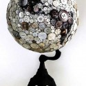 globe decorated with buttons