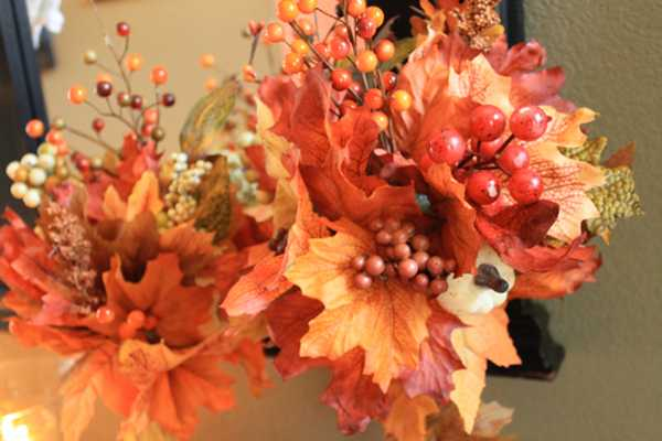 flower arrangement made with autumn leaves
