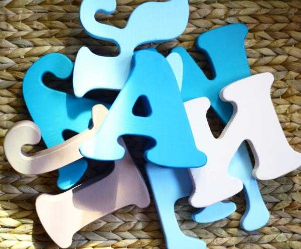 alphabet wooden letters painted white and blue